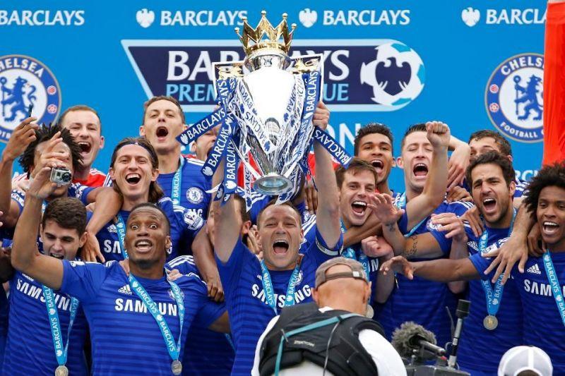 Chelsea lift the Premier League title.