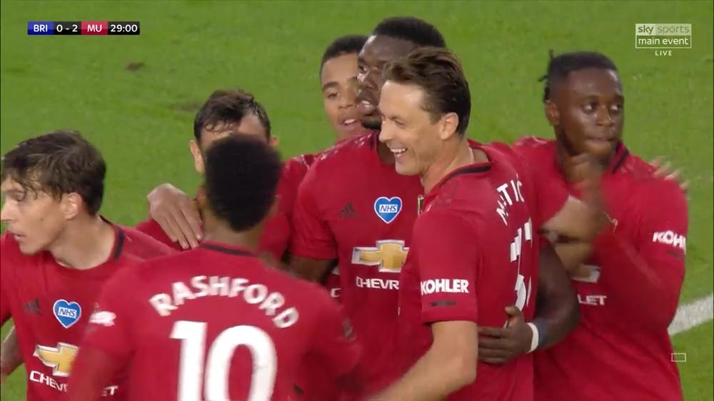 Man Utd lead Brighton 2-0 at half-time at the AMEX stadium. [Sky Sports Screen Shot]