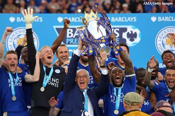 Leicester lift the Premier League title.