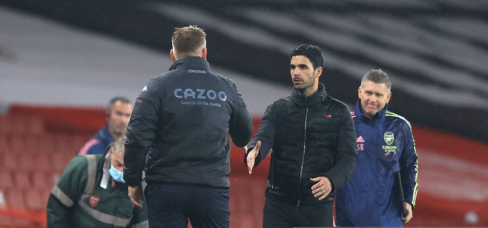 Arsenal manager Mikel Arteta congratulates Aston Villa for their professional display against at the Emirates Stadium. [Getty]