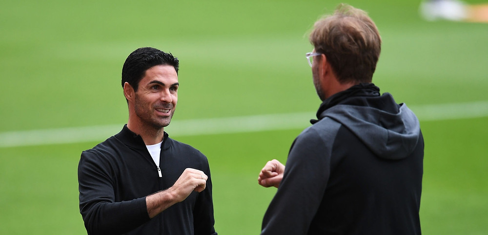 Liverpool manager Klopp and Arsenal manager Mikel Arteta.
