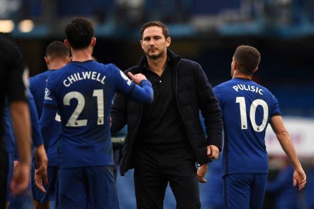 Frank Lampard shakes Ben Chilwell after Chelsea's 4-0 Premier League win over Crystal Palace.