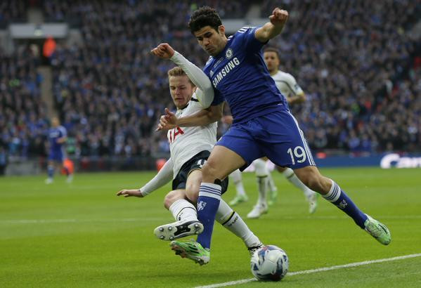 Tottenham defender Dier battling with Diego Costa in the Carling Cup Final at Wembley. Getty.