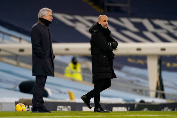 Pep Guardiola and Jose Mourinho on the touchline at the Etihad. [Getty]