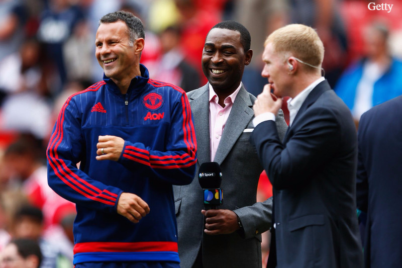 Giggs (L) spent 24 years playing for Liverpool's bitter rivals Manchester United.