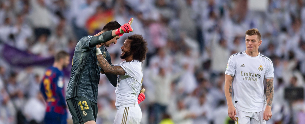 Thibaut Courtois of Real Madrid, Marcelo of Real Madrid and Toni Kroos of Real Madrid celebrate. [Getty]