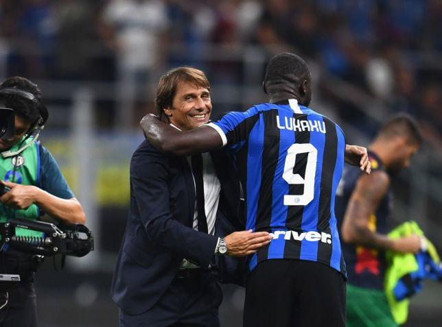 Antonio Conte and Lukaku celebrate. [Getty]