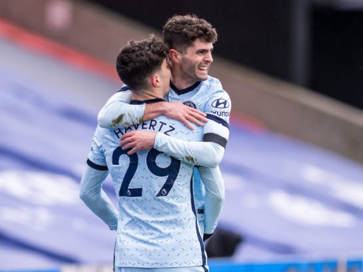Havertz and Pulisic react after Chelsea 4-1 win over Crystal Palace.