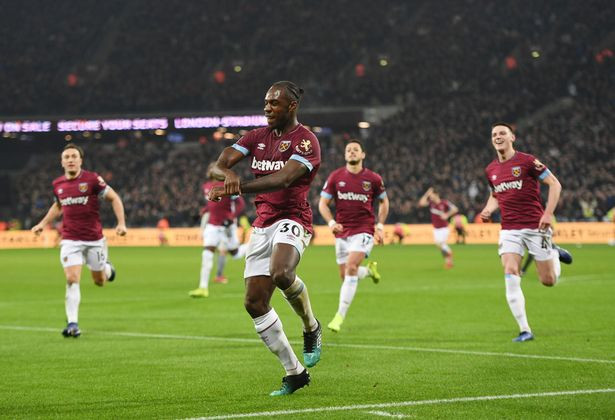 Michail Antonio celebrates his leveller for the Hammers. (Image: Kent Gavin / Daily Mirror)