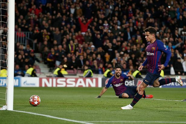 Coutinho helped Barca seal a 5-1 win over Lyon in the UCL. (AFP/Getty Images)
