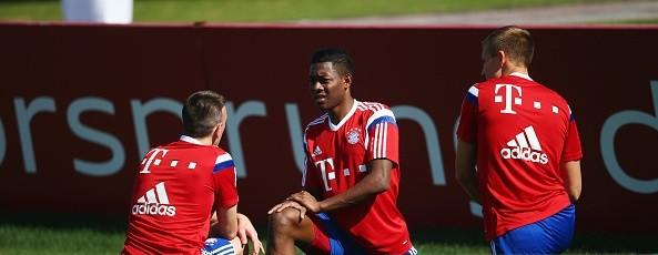 Alaba in training with his Bayern Munich team-mates.