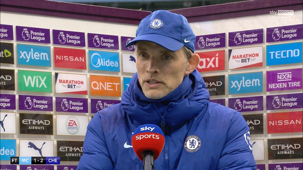 Chelsea manager Thomas Tuchel smiles following win over Man City [Sky Skports Screen Shot]