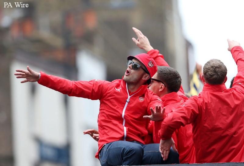 Jack Wilshere celebrates FA Cup glory