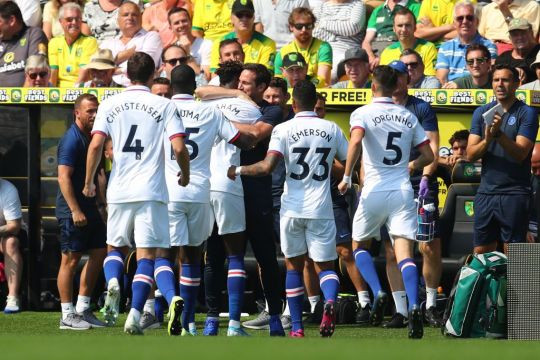 Lampard and his Chelsea side celebrate at Norwich.