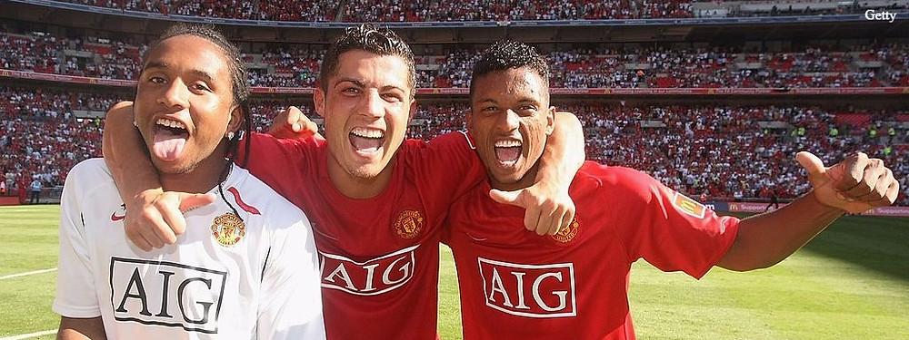 Nani [R] spent seven seasons at Old Trafford.