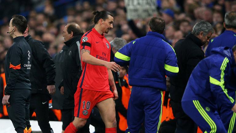 Zlatan Ibrahimovic departs after being sent off at Stamford Bridge.