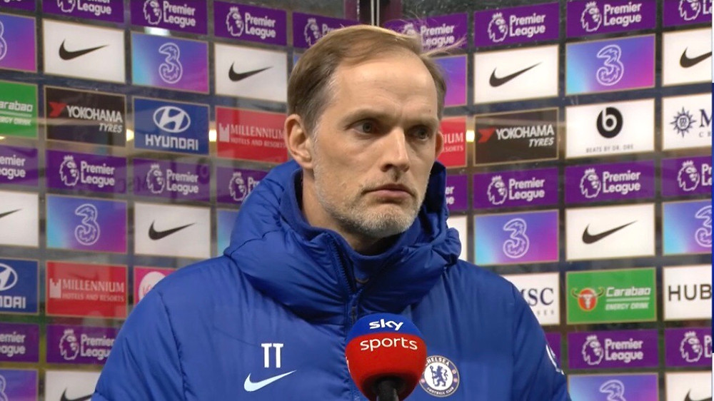 Angry faced Thomas Tuchel disappointed with Chelsea loss to Arsenal [Sky Sports Screen Shot]