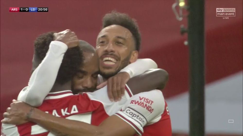 Aubameyang was on target against the Foxes. [Sky Sports Screen Shot]