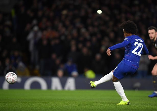 Willian scores from the spot for Chelsea. (Image: Darren Walsh/Chelsea FC via Getty Images)