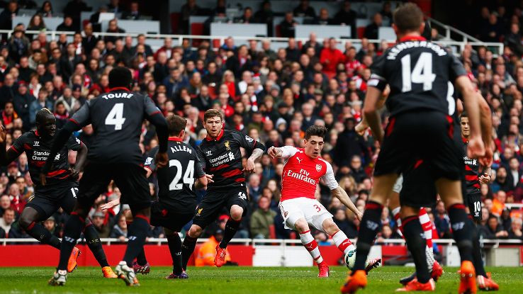 Hector Bellerin as he scores Liverpool with a sublime finish.