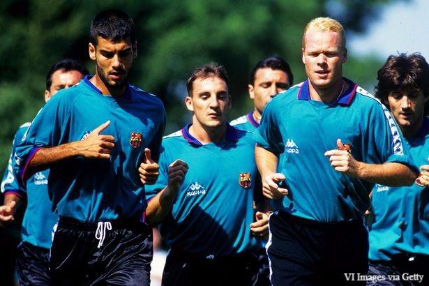Guardiola and Koeman in Barca training.