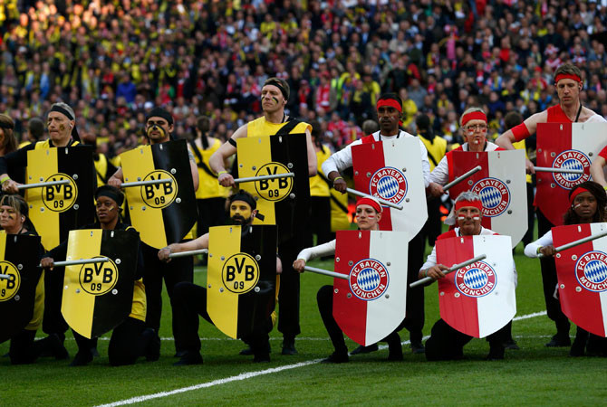 Performers take part in the opening ceremony before the start of the 2013 UEFA Champions League final. [Image: Dawn.com]