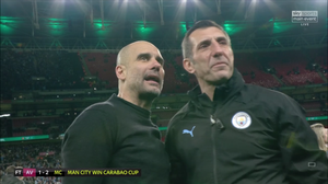 Pep Guardiola expressed his delight after winning the Carabao Cup at Wembley. [Sky Sports Screen Shot]