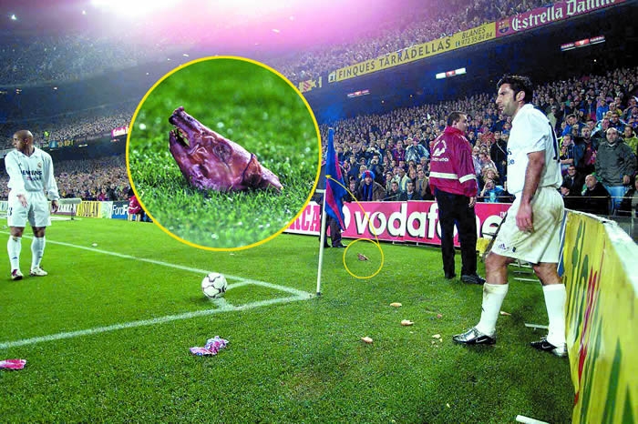 ( Luis Figo and the pigs head at Nou Camp   Photo: 101greatgoals.com )