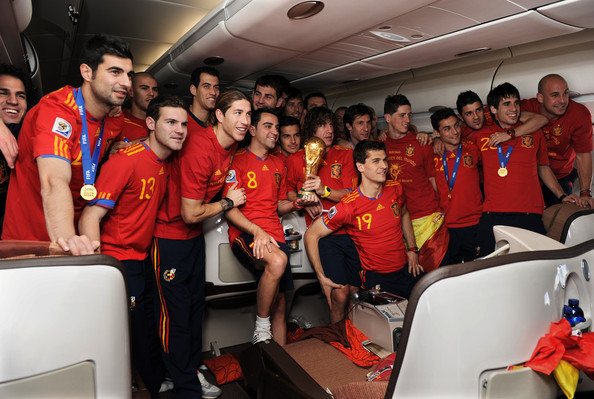 Xavi Hernandez and the Spanish side celebrate winning the world cup in 2010.