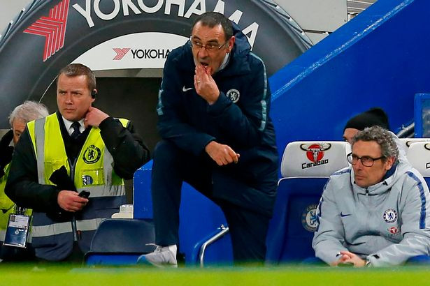 Sarri is clearly on the edge. [AFP/Getty Images]