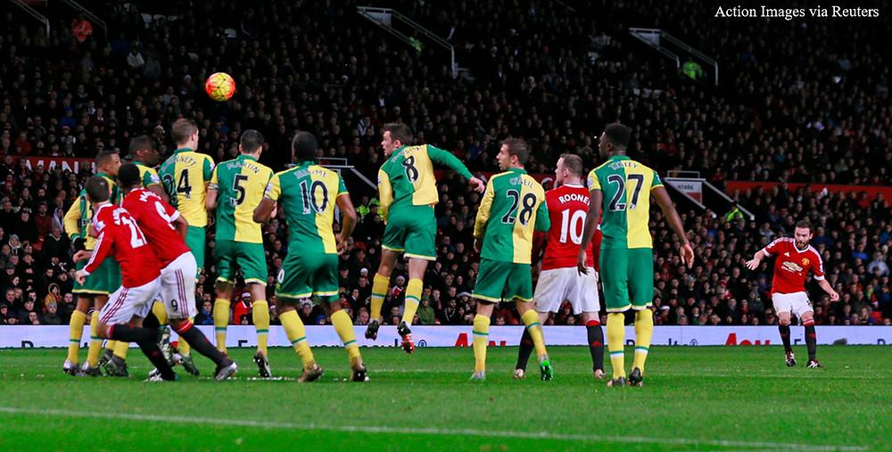 Mata shoots from a free kick