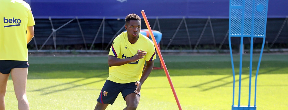Ansu Fati of FC Barcelona runs during a training session at Ciutat Esportiva Joan Gamper [Getty]
