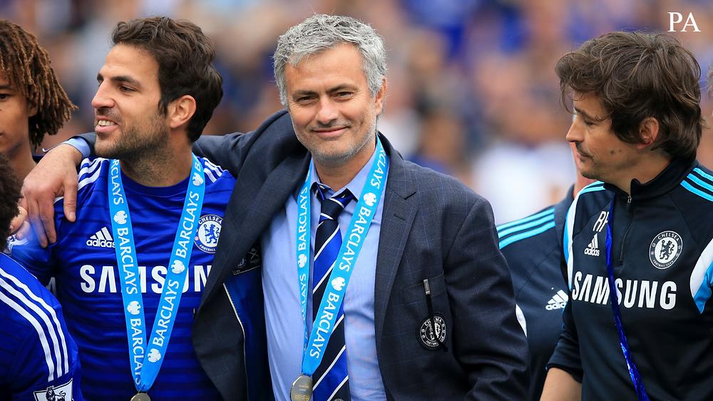 Cesc Fabregas, Jose Mourinho and Rui Faria.