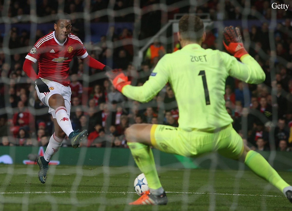 Anthony Martial's shot saved.