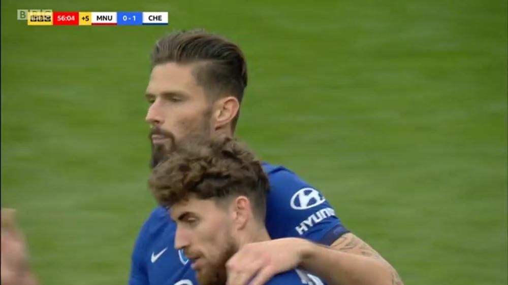 Giroud opened the scoring at the Wembley stadium. [BBC Screen Shot]
