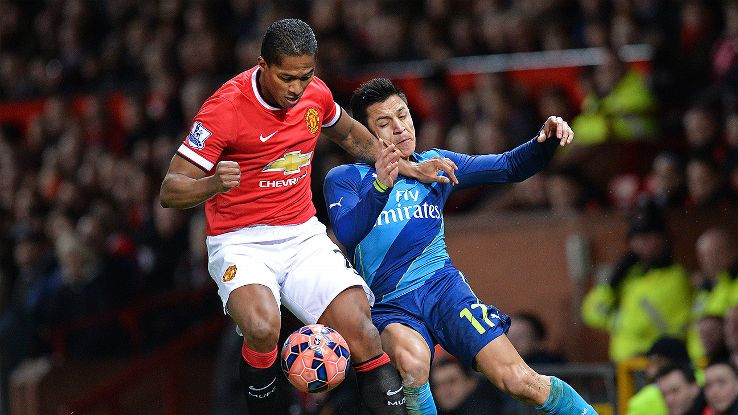 Antonio Valencia battles with Alexis Sanchez for the ball.