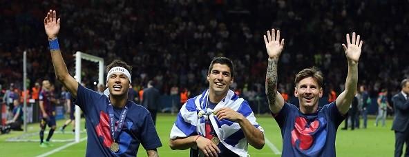 Neyma, Suarez and Messi. Getty.