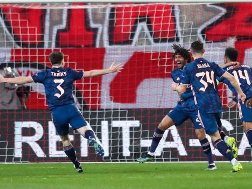Odegaard and Arteta react after Arsenal 3-1 win over Olympiakos.