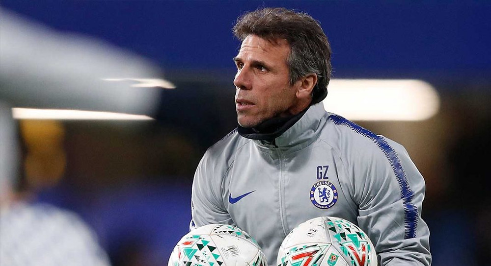 Chelsea assistant Zola. (ADRIAN DENNIS/AFP/Getty Images)