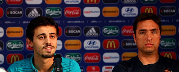 Bernardo Silva (L) and Rui Jorge, head coach of Portugal attend a UEFA press conference ahead of the UEFA European Under-21 final match against Sweden at Eden Stadium on June 29, 2015 in Prague, Czech Republic. [Getty]