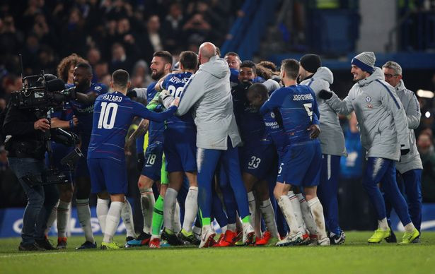 Chelsea players celebrate. [Reuters]