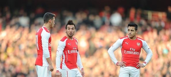 Mesut Ozil, Santi Cazorla and Sanchez
