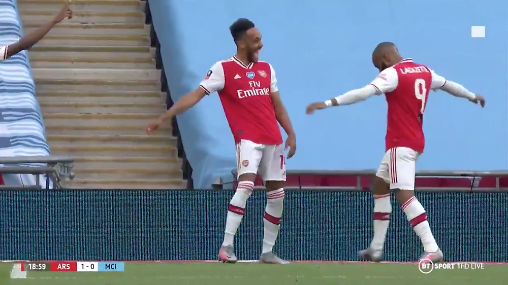 Aubameyang's double secure FA Cup win for Arsenal over Man City [BT Sport Screen Shot]