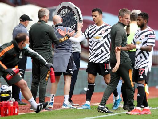 Shaw and Mason Greenwood react after Aston Villa win.