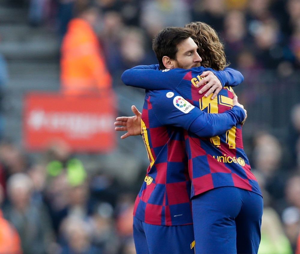 Lionel Messi and Antoine Griezmann of FC Barcelona. [Getty]