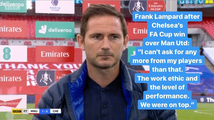 Chelsea beat Manchester United 3-1 to reach the FA Cup final. [BBC Screen Shot]