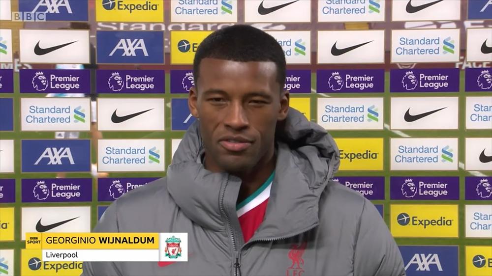 Wijnaldum celebrates with Liverpool teammates [BBC MOTD Screen Shot]