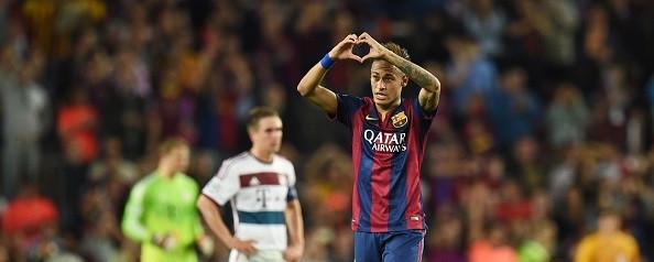 Neymar hails Barcelona fans after making it 3-0.