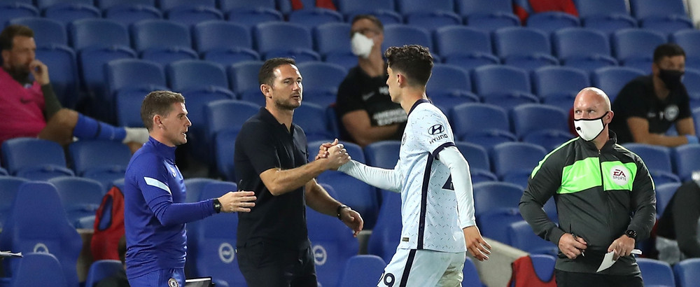 Kai Havertz of Chelsea shakes hands with Frank Lampard. [Getty]