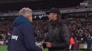 Jurgen Klopp and Manuel Pellegrini after Liverpool 1-1 draw with West Ham.